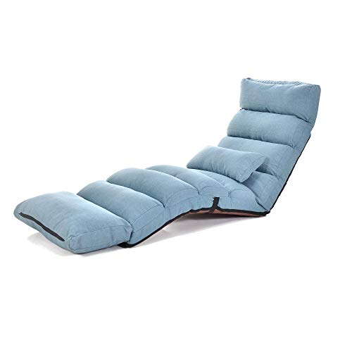 Large Floor Chair for Adults Sofa Recliner Chairs Head Back Foot Adjustable, Comfortable Memory Foam and Back Support, Living Room Lounger Chair for Gaming, Reading, Meditating, with Pillow, Blue