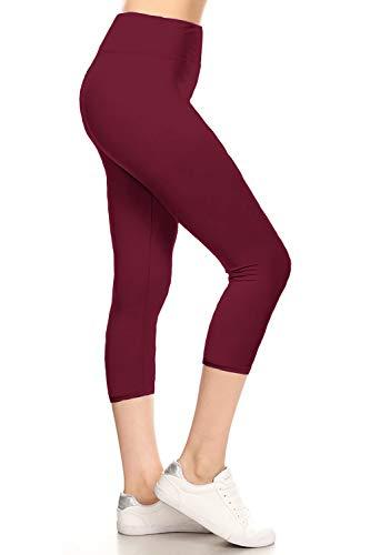 LYCP3X5X128-BURGUNDY Yoga Capri Solid Leggings, 3X5X