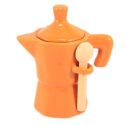 Zuccheriera a Forma di Moka Arancione Barattolo caffettiera in Ceramica Smaltata con cucchiaino in Legno da tavola, Cucina o per attività pubbliche.