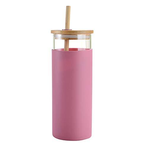 Vaso térmico con pajita y tapa abatible, 450 ml, vaso de plástico, vaso para smoothie para llevar, con pajita, sin BPA