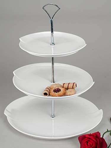 Moderne Etagere 3tlg. 38cm in Brilliant-weiss aus glasiertem Porzellan