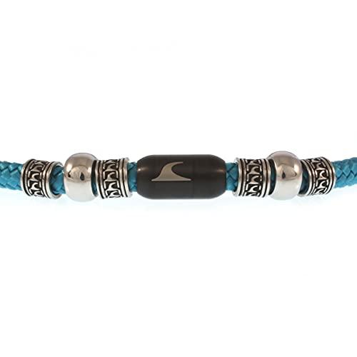 WAVEPIRATE® Segeltau Halskette Atoll ST Blau Schwarz 45 cm Edelstahl-Verschluss in Geschenk-Box Surfer Herren Männer