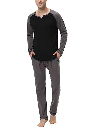 Hawiton Schlafanzug Herren lang Zweiteiliger Pyjamas Rundhals Baumwolle Nachtwäsche Sleepwear für Männer Schwarz XL
