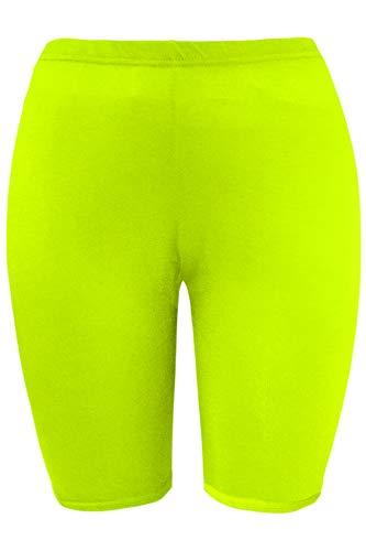 Oops Outlet - Leggings da donna, elasticizzati, per ballare e ciclismo, taglie forti Verde fluo, sport sportivi. 44-46