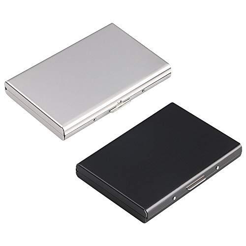 Vicloon Kartenetui Kreditkarten, 2 Stück RFID Blocking Kreditkartenhülle Kreditkarten aus Aluminium, Visitenkarten Etuis 6 Fächer, RFID & NFC Schutz Kreditkartenetui für Damen, Herren - Schwarz & Weiß