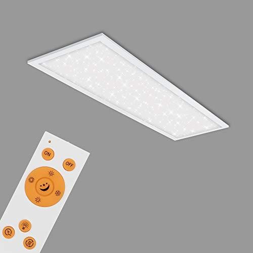 Briloner Leuchten - LED Panel, Deckenlampe inkl. Sternendekor, Deckenleuchte dimmbar, Farbtemperatursteuerung (CCT), inkl. Fernbedienung, 24 Watt, 2.200 Lumen, Weiß, 1000x250x65mm (LxBxH), 7308-016