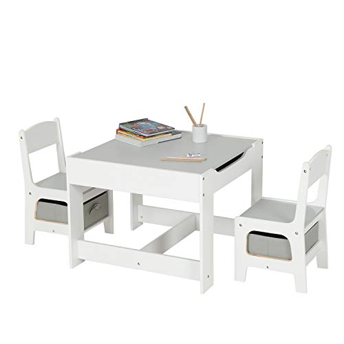 ADORNEVE Kids Table and Chair Set, 3 in 1 Children Activity Table Desk Sets with Storage Drawer/Removable Tabletop for Drawing, Reading, Art Playroom (White & Gray)
