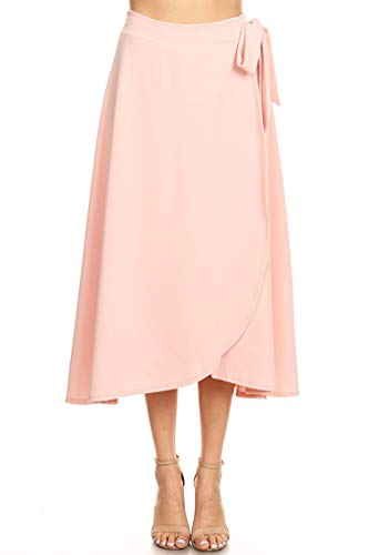 Solid Print Casual Comfy Elastic A-line Knee Midi Skirt/Made in USA Light Pink XL