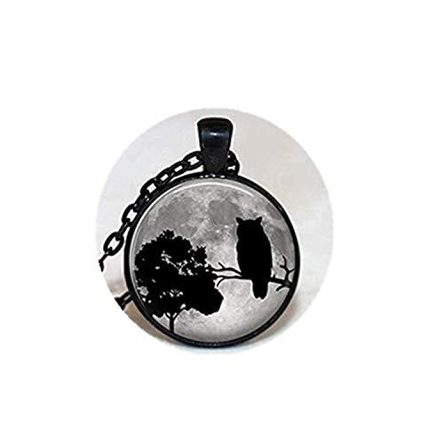 Halskette mit Eulen-Anhänger, Glas-Fliesen, Eulen-Schmuck, Baumschmuck, Baumschmuck, schwarzer Schmuck Vogel-Halskette