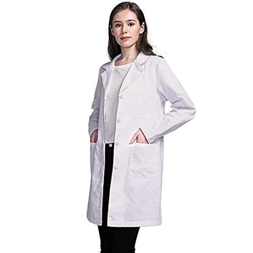 POLP Mujer Bata de Laboratorio Blanco Uniformes de Trabajo Adecuado para Estudiantes y Profesionales de la Medicina Ciencia Laboratorio Camisa de Manga Larga con Bolsillo