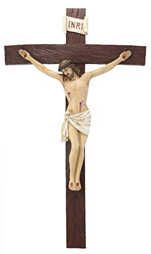 Ebros Large 30 Inches High INRI Jesus Christ Crucified On The Cross Wall Hanging Crucifix Crosses Plaque in Vivid Colors Catholic Christian Sculpture Home Decor Plaque Inspirational Religious Art