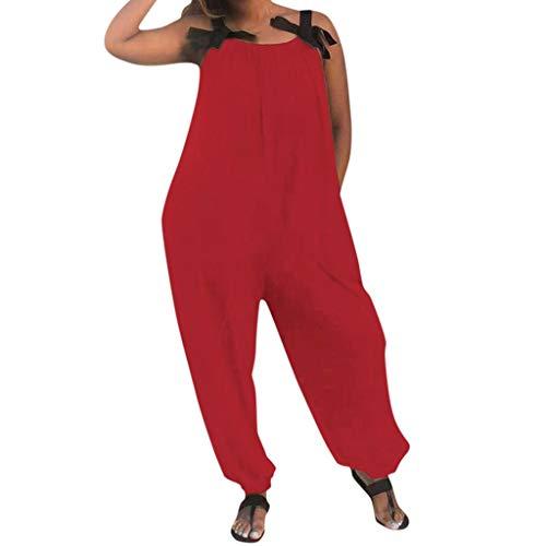Lulupi Baumwolle Jumpsuit Damen Große Größen Elegant Overall Lang,Leinen Oversize Weite Hose Trägerhose Kleidung Overall Tracksuit