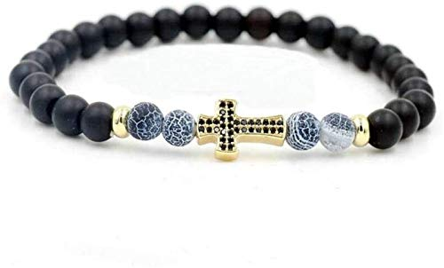 Plztou Stone Bracelet Women,7 Chakra Natural Blue Beads Frosted Stone Elastic Bangle Yellow Cross Jewelry Yoga Energy Protection Pray Charm Diffuser Gift For Couple