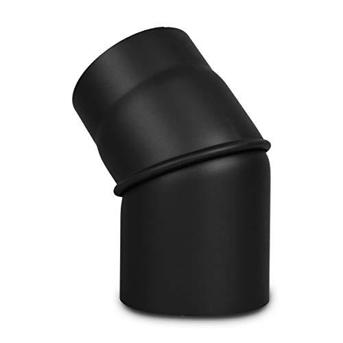 LANZZAS Ofenrohr Bogen 0° - 45° verstellbar - im Durchmesser Ø 150 mm - Farbe: schwarz - Rauchrohr/Knie-Bogen