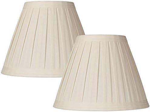 Set of 2 Creme Linen Box Pleat Lamp Shades 7x14x11 Spider Springcrest product image