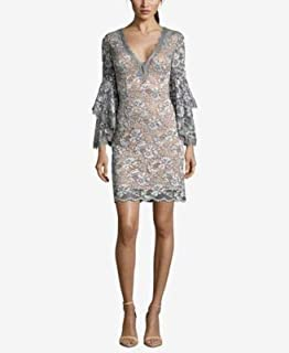 BETSY & ADAM Womens Gray Beaded Lace Long Sleeve V Neck Above The Knee Sheath Cocktail Dress US Size: 6