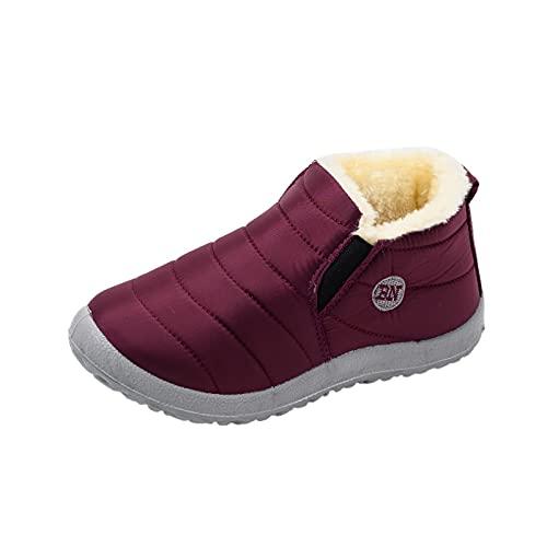 Stivaletti Donna con Tacco Bassi Boot Inverno Neve Stivali Donna Inverno Piatto Idrorepellente Velluto Caldo Stivali da Neve A Tubo Corto (38,Donna-Rosso)