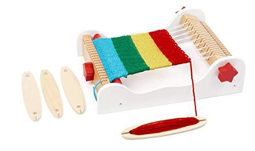 small foot 12042 Webrahmen Elsa aus Holz mit Zubehör und ausführlicher Anleitung, für Kinder ab 4 Jahren
