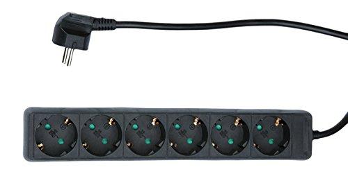 Blass elektrisch tafelstopcontact 6-voudig zonder schakelaar, 1,4 m, zwart, 1 stuk, 208280