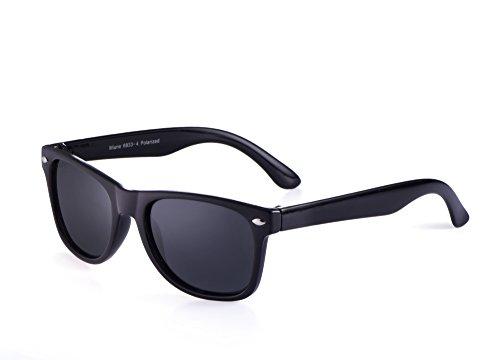 miuno® Gafas de sol infantiles polarizado dual-polarized Wayfare funda para niños y niñas 6833a negro negro