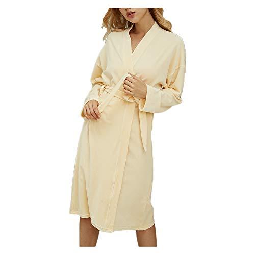 ACYOUNG Damen Morgenmantel Bademantel Kaschmir Nachtwäsche Kimono weich Saunamantel Robe Negligee Mit V-Ausschnitt (Hellgelb,XL)