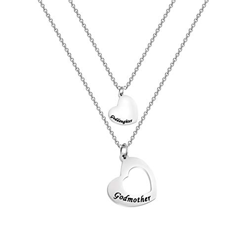 Goddaughter Necklace Godmother In Heart Matching Necklace Set Goddaughter Baptism Gift Religious Jewelry for Godmother (necklace set)