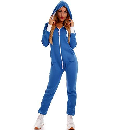 Crazy Age Basic Jumpsuits Ganzkörperanzug Einteiler One Piece Schlafanzug Overall Damen Jumpsuit Kuschelig und warm (XL, Royalblau)