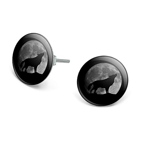 GRAPHICS & MORE Wolf Howling Moon Silhouette Novelty Silver Plated Stud Earrings