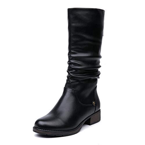 Womens dames hoge laarzen lage hak plat ronde teen laarzen waterdicht comfort no-slip casual boot rits gesloten rijlaarzen