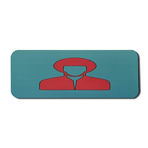 Vintage Dude Computer Mouse Pad, warme Farbe Mann Silhouette Porträt mit Retro-Stil Haarschnitt und Hemd, Rechteck rutschfeste Gummi Mousepad große Zinnoberrot und blaugrün