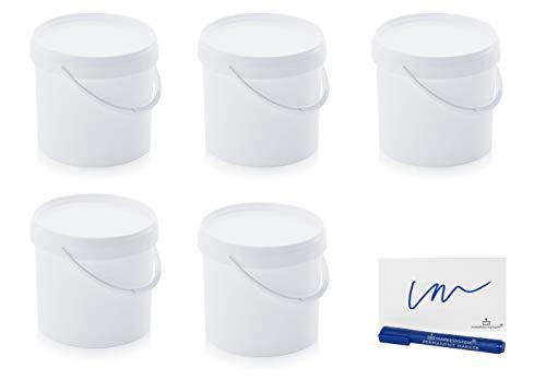 MARKESYSTEM Cubo HERMÉTICO Pack de 5 x 5,6 litros - Contenedores Apilables de Plástico con Tapa - Envase Alimentos, Catering Industrial, Líquidos y Pinturas - Polipropileno Blanco + Kit Etiquetado