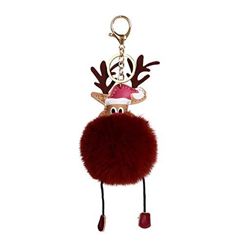 Yinyimei Keychain Creative Christmas Reindeer Keychains for Women Gift Hair Ball Key Cute Trinket Pendant (Color : Reddish brown, Size : 18cm)