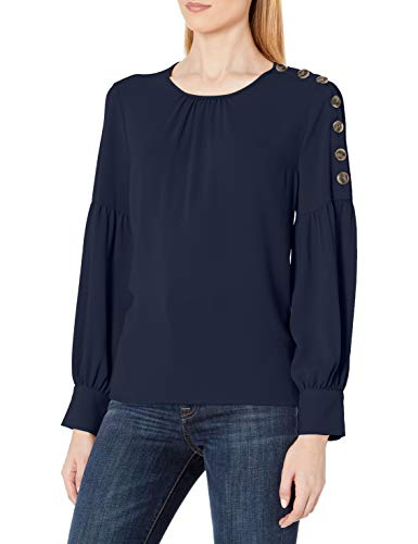 Vince Camuto Women's Button Shoulder Blouse, Caviar, Medium