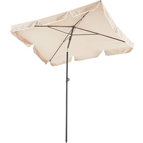 TecTake 800683 Parasol rectangulaire, de Balcon de Plage, inclinable et réglable, Protection UV 50+, 200 x 125 x 235 cm – Plusieurs Coloris – (Beige | no. 403136-2)