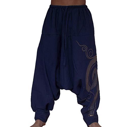 JiXuan New Hip Hop Aladdin Hmong Baggy Lino in Cotone con Pantaloni Larghi da Uomo Plus Size Pantaloni a Gamba Larga New Boho Casual Pantaloni con Incrocio Pantaloni
