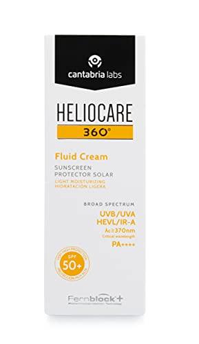 Heliocare 360º Fluid Cream SPF 50+ - Crema Solar Facial Fluida, Nutre e Hidrata, Aporta Suavidad a la Piel, sin Residuo Blanco, Pieles Normales o Secas, 50ml (11655)