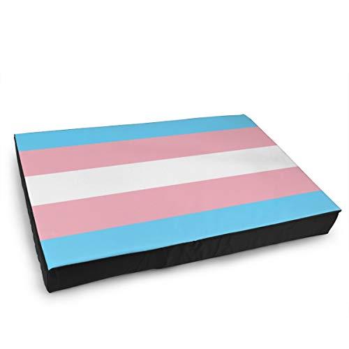 Jacklee Hond Kat Bed met Orthopedisch Schuim en Wasbaar Anti-slip Cover, Transgender Vlag