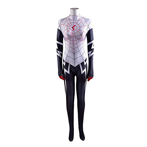XNheadPS Spiderman Spider-Gwen Mascarilla Body Black Spiderman Jumpsuit Zentai 3D Impreso Super Heros Halloween Cosplay Disfraces para Hombres niños,White- Kid S 115~125cm