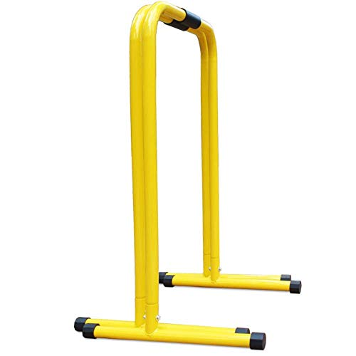 Parallel Bars Adjustable Pull-Up Bar Dip Station Workout Station for Calisthenics Crossfit Home Commercial Gym Workout Exercise (Color : Yellow, Size : 100x65x56cm)