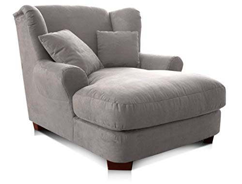 CAVADORE XXL-Sessel Oasis / Großer Polstersessel im modernen Design / Inkl. 2 schöne Zierkissen / 120 x 99 x 145 / Lederoptik in hellgrau