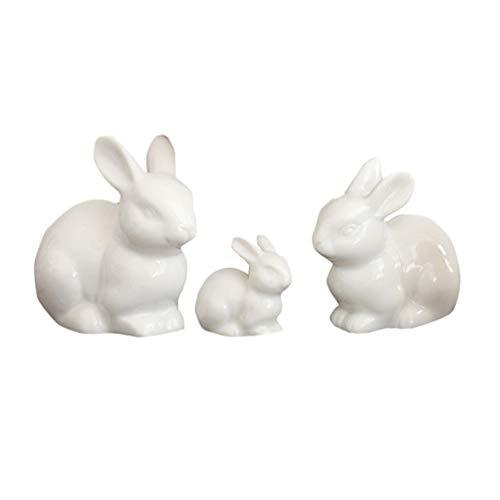 VOSAREA 3St. Kaninchen Figur Miniature Keramik Porzellan Hase Statue Osterhasen Figuren Tierfigur Dekofigur für Balkon Fee Garten Ornament Geburtstag Ostern Party Tischdekoration Weiß