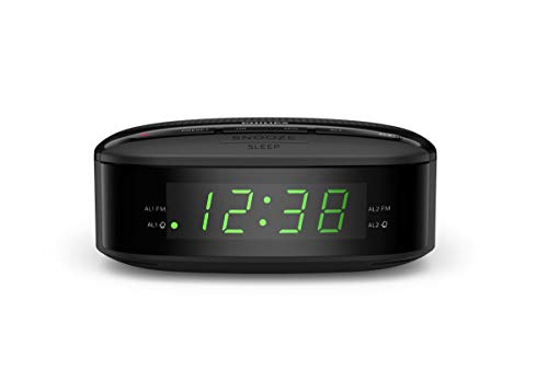 Philips Audio Radiowecker UKW Radio (Doppelter Alarm, Sleep Timer, Kompaktes Design, UKW Digitalradio, Batteriesicherung) - 2020/2021 Modell TAR3205/12