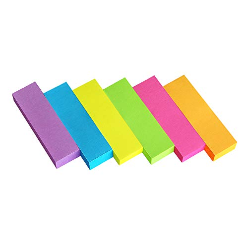 30 Pads 0.5x1.8 Sticky Notes Flags Tabs Page Markers 6 Bright Color Sticky Index Tabs Page Flags 80 Sheet/Pad