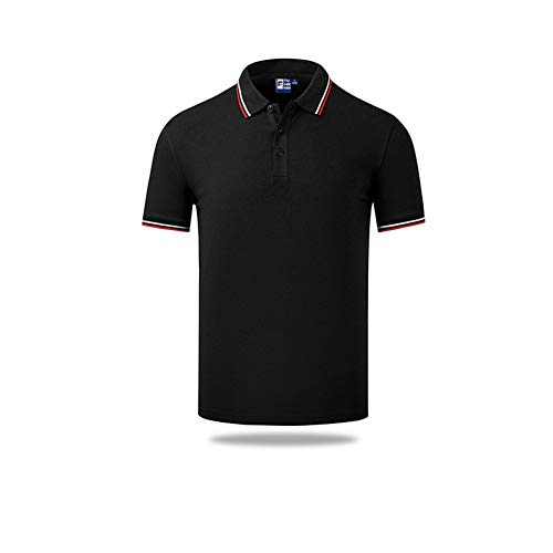 LDJ T-shirt voor zomer, katoen, reverskraag, heren, dames, poloshirt voor kinderen, hoogwaardig, casual, modieus, korte mouwen (kinderen 150, zwart)