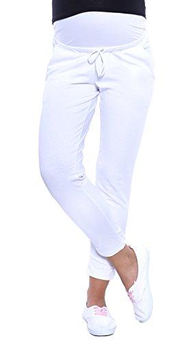 Mija - Schwangerschaftshose 7/8 mit extra Bauch-Panel/Umstandsmode 4059 (EU38 / S, Weiß)