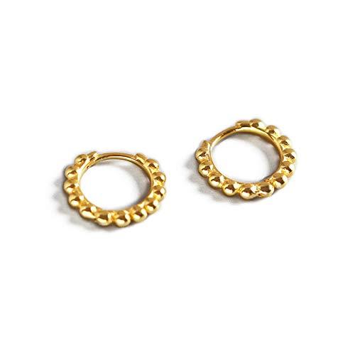 Minimalist Ball Bead Small Hoop Earrings for Women Girls Kids Men S925 Sterling Silver Pierced Ear Simple Cartilage Tragus Sleeper Earrings Irregular Tiny Dot Hinged Fashion Jewelry (8mm gold plated)