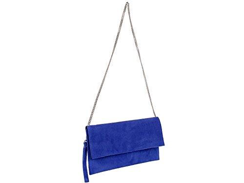 scarlet bag   Clutch Tasche Unterarmtasche Abendtasche Umhängetasche aus echtem Wildleder   Damen Handtasche; 31 x 17 x 1 cm (Blau)