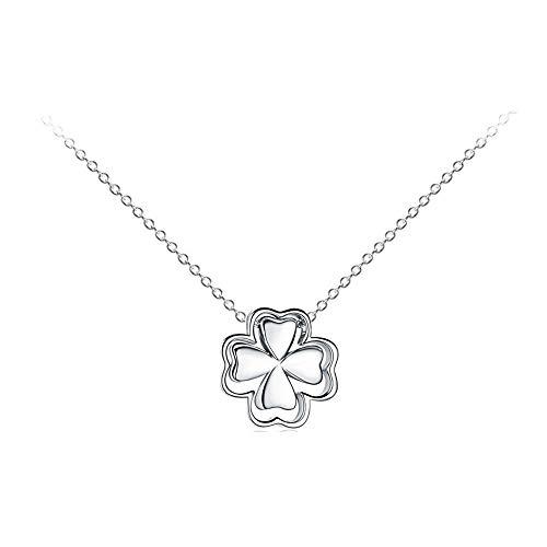 MiniJewelry - Collar de plata de ley con trébol doble para mujer, niña, hermana, madre, hija, mejor amiga, regalo de cumpleaños