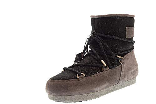 Moon Boot Womens FAR Side Low Suede Glitter Schwarz/Grau Schneestiefel 40