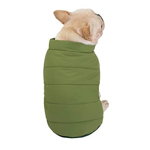 Yannn Hundekleidung, winddichtes Tuch für Hundemantel, warme Klassische weiche Weste für kleine, mittlere, warme Wintermäntel für Welpen, Baumwollweste für Hunde, grün